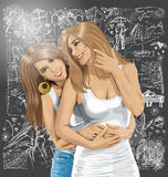 Vectorvrouwen Vrolijk Paar tegen Liefdeachtergrond vector illustratie