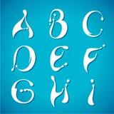 Vectorwater melkachtig alfabet Stock Afbeeldingen