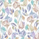 Vectorwatercolour bloemenpatroon, gevoelige bloemen, gele, blauwe en roze bloemen, het malplaatje van de groetkaart Royalty-vrije Stock Afbeelding