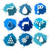 Vectorwatersymbolen - de Reeks van de Pictogrammenplons Stock Foto's