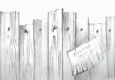 Vectorwaterverf houten omheining Stock Foto's