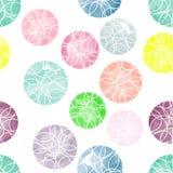 Vectorwaterverfcirkels met ornamenten naadloos patroon Stock Foto