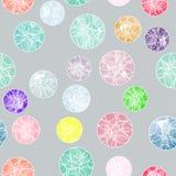 Vectorwaterverfcirkels met ornamenten naadloos patroon Royalty-vrije Stock Afbeeldingen