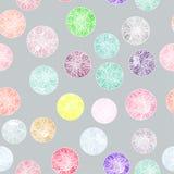 Vectorwaterverfcirkels met ornamenten naadloos patroon Stock Fotografie