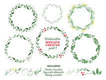 Vectorwaterverfkronen en afzonderlijke bloemen royalty-vrije stock afbeeldingen