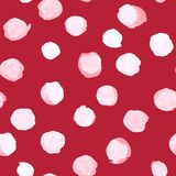 Vectorwaterverfpolka Dot Pattern White op Rood Royalty-vrije Stock Foto's