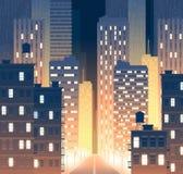 Vectorweg, straat met gebouwen bij nacht royalty-vrije illustratie