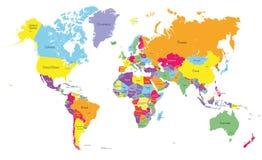 Vectorwereld gekleurde kaart Stock Afbeelding