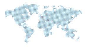 Vectorwereldkaart met punt en kapitaal op wit stock illustratie