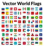 Vectorwereldvlaggen Royalty-vrije Stock Fotografie
