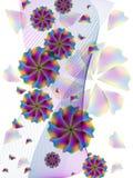 Vectorwervelingen met bloemen Stock Fotografie