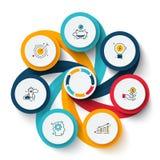 Vectorwervelingselementen voor infographic Malplaatje voor cyclusdiagram, grafiek, presentatie en grafiek Bedrijfsconcept met royalty-vrije stock foto's