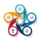 Vectorwervelingselementen voor infographic Malplaatje voor cyclusdiagram, grafiek, presentatie en grafiek Bedrijfsconcept met stock afbeelding