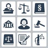 Vectorwet en rechtvaardigheids geplaatste pictogrammen Royalty-vrije Stock Fotografie