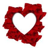 Vectorwhite hjärta på mall för röda rosor Royaltyfri Foto