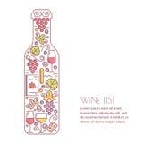Vectorwijnachtergrond Concept voor wijnlijst, bar of restaurant Royalty-vrije Stock Afbeelding