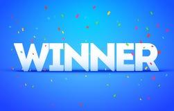 Vectorwinnaar of Victory Congratulations Confetti Triumph-banner stock illustratie