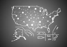Vectorwireframenetwerk veelhoekig van de Gebieden van de V.S. kaart Abstracte globale verbindingsstructuur Kaart aan lijnen en pu royalty-vrije illustratie