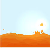 Vectorwoestijnillustratie Stock Afbeeldingen