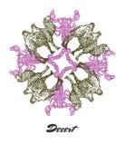 Vectorwoestijnstemming Gegraveerde fractal afzetsamenstelling Royalty-vrije Stock Foto's