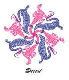 Vectorwoestijnstemming Gegraveerde fractal afzetsamenstelling Royalty-vrije Stock Afbeeldingen