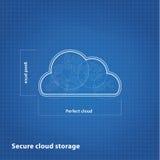 Vectorwolkenschets met blauwdrukachtergrond. Royalty-vrije Stock Afbeeldingen