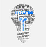 Vectorwoordwolk van innovatie gloeilamp Stock Fotografie