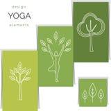 Vectoryogaillustratie Reeks lineaire yogapictogrammen, yogaemblemen in overzichtsstijl Royalty-vrije Stock Afbeelding