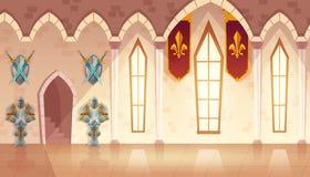 Vectorzaal in middeleeuws kasteel, koninklijke balzaal royalty-vrije illustratie