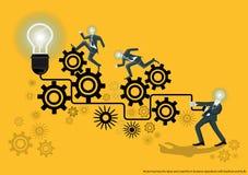Vectorzaken voor ideeën en creativiteit in bedrijfsverrichtingen met weerslag en bol vlak ontwerp Stock Afbeelding