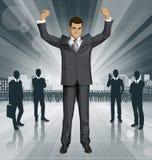 Vectorzakenman With Hands Up Royalty-vrije Stock Afbeelding