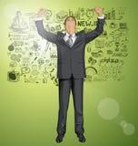 Vectorzakenman With Hands Up royalty-vrije illustratie