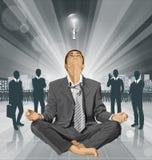 Vectorzakenman in Lotus Pose Meditating Stock Afbeeldingen