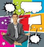Vectorzakenman in Lotus Pose Meditating With Bubble-Toespraak Royalty-vrije Stock Afbeelding