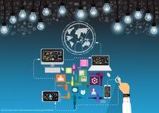 Vectorzakenman met communicatie technologie wereldwijd met Mobiel, tablet, laptop computers, lampen en diverse pictogrammen vlak  stock illustratie