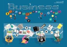 Vectorzakenmanbrainstorming Het vlakke concept van de ontwerp moderne vectorillustratie projectleidings bedrijfsanalyse en plann vector illustratie