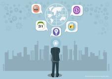 Vectorzakenmanbrainstorming voor ideeën Globale Marketing en pictogrammen samen met bedrijfs vlak ontwerp stock illustratie