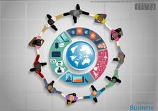 Vectorzakenmanhanddruk met succes pictogram, wereld, vlak ontwerp Stock Foto