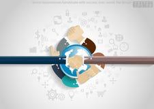 Vectorzakenmanhanddruk met succes pictogram, wereld, vlak ontwerp Royalty-vrije Stock Fotografie
