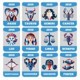 Vectorzakkalender met vlakke dierenriemtekens, horoccope, astrologie Stock Fotografie