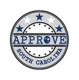 Vectorzegel voor Approve embleem met Zuiden Carolina Flag in de vorm van O en tekst Zuid-Carolina royalty-vrije illustratie