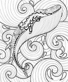 Vectorzentanglewalvis in overzees, druk voor volwassen kleurende pagina A4 vector illustratie