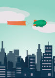 Vectorzeppelin met vlag Royalty-vrije Stock Afbeeldingen