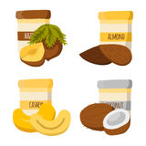 Vectot cartoon jars with nuts butter Stock Photography