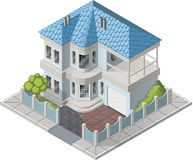Vectot luxury house isometric. Isometric Vectot luxury house with backyard stock illustration