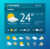 Vectot weather widget for smartphone Stock Photos