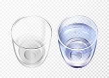 Free Vectpr Realistic Empty, Glass With Water Cup Set Stock Images - 116849184