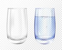 Free Vectpr Realistic Empty, Glass With Water Cup Set Stock Photography - 116923622