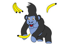 Vectro illustration of cute cartoon gorilla with bananas Royalty Free Stock Photography