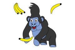 Vectro illustration of cute cartoon gorilla with bananas. Cute cartoon gorilla with bananas vector illustration